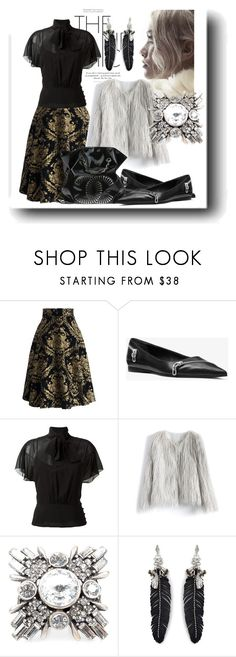 """""""Simple and elegant - full skirt + black flats (pointy toe!)"""" by soulchicjourneyatelier ❤ liked on Polyvore featuring Chicwish, Michael Kors, RED Valentino, Rebecca Minkoff and Chanel"""
