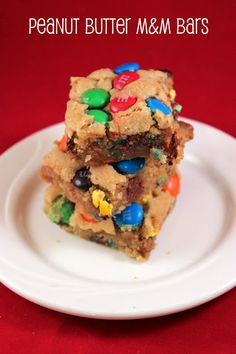 Peanut Butter M & M Bars..only 5 ingredients! ...literally drooling at the thought of these......