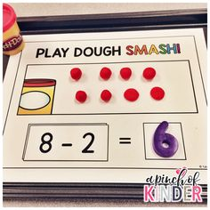 A Pinch Of Kinder: Subtraction Centers - Play Dough Smash Subtraction Kindergarten, Subtraction Activities, Kindergarten Math Activities, Preschool Math, Fun Math, Numeracy Activities, Maths Eyfs, 2 Kind, Math Addition