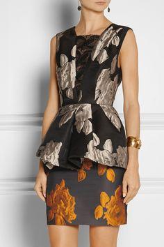 Vera Wang|Rose-jacquard peplum dress
