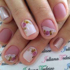 Nails Sencillas Naturales 46 Ideas For 2019 Rose Nail Art, Rose Nails, Flower Nails, Wedding Acrylic Nails, Trendy Nail Art, Toe Nail Designs, Fabulous Nails, Nail Manicure, Spring Nails
