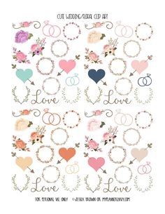 Free Printable Cute Wedding/Floral Clip Art  {PDF, JPG and Studio3 files} from myplannerenvy.com