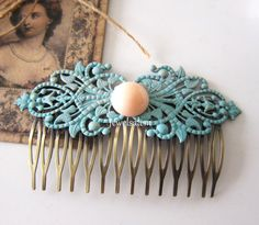 Hair Comb Turquoise Wedding Bridal Hair Slide Teal by Jewelsalem