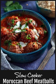 These 8 hour Slow Cooker Moroccan Beef Meatballs are light juicy and full flavoured in rich tomato garlic and spice sauce. Slow Cooked Meals, Slow Cooker Recipes, Beef Recipes, Cooking Recipes, Healthy Recipes, Barbecue Recipes, Cooking Ideas, Food Ideas, Moroccan Beef
