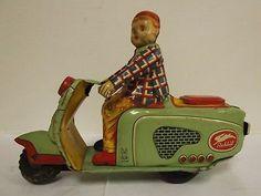 1950 Tin Litho Toy Boy on Rabbit Japan Scooter Motorcycle Vespa Cushman Style