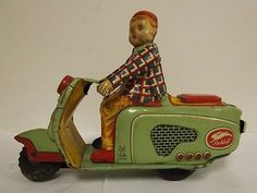 1950 Tin Litho Toy Boy on Rabbit Japan Scooter Motorcycle Vespa Cushman Style