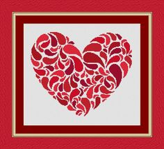 HEART red / coeur- Counted cross stitch pattern /grille point de croix ,Cross Stitch PDF, Instant download , free shipping by LudivinePointDeCroix on Etsy https://www.etsy.com/listing/254438578/heart-red-coeur-counted-cross-stitch