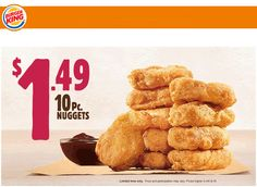 Pinned October 8th: 10pc nuggets for $1.49 at #BurgerKing #coupon via The #Coupons App