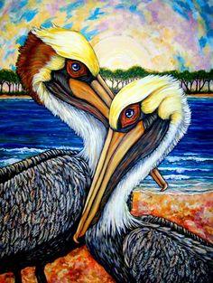 Pelican Pair by Sherry Dole. Louisiana art and paintings. Pelican Art, Louisiana Art, Bird Artwork, Tropical Art, Sea Birds, Beach Art, Art Techniques, Painting & Drawing, Fine Art America