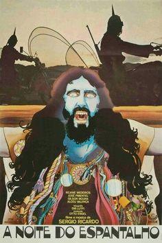"""A NOITE DO ESPANTALHO - 1974 BRASIL - film & music by Sérgio Recardo w/ ALCEU VELENÇA """"Night of the Scarcrow"""".. Has Tropicalismo aesthetic."""