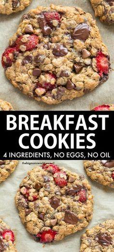 Healthy Cookies, Healthy Sweets, Healthy Breakfast Recipes, Healthy Baking, Healthy Snacks, Dinner Healthy, Eating Healthy, Clean Eating, Healthy Cookie Recipes