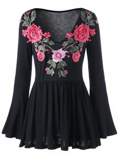 Bell Sleeve Floral Embroidered Peplum Blouse