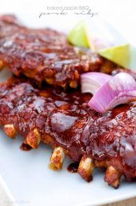 Baked Apple BBQ Pork Ribs | Color Me Meg
