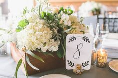 Modern, light and fresh wedding centerpiece idea - white hydrangeas + greenery in wood boxes + black and white table numbers {Anna Delores Photography}