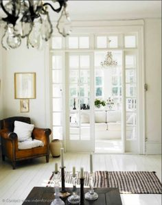 worn pieces in fresh surroundings.  Interior Design Inspiration. Urban Cottage Vintage Chic. Love the french doors opening into the living room
