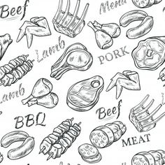 Buy Meat Sketch Seamless Pattern by macrovector on GraphicRiver. Meat black white sketch seamless pattern with beef and pork vector illustration. Editable EPS and Render in JPG format Carnicerias Ideas, Chicken Vector, Meat Shop, Food Patterns, Butcher Shop, Logo Food, Shop Plans, Packaging Design Inspiration, Food Illustrations