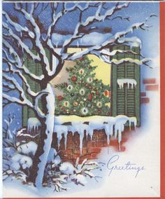 Vintage Christmas Card Christmas Tree IN Open Window