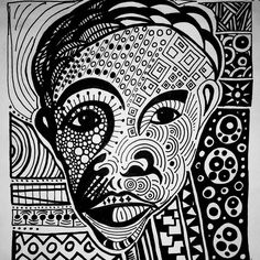#inktober post 6. This was supposed to have something to do with a sword. The idea I was aiming for was to draw a pretty lady and discuss how love can pierce the heart like a sharp blade.  But the lady looks like a man.  #markerpen #ink #drawing #design #art #rooker #pattern #Kenya #scifiart