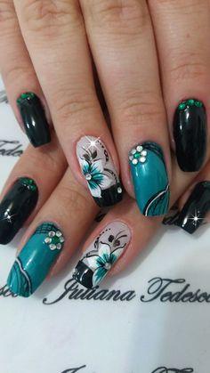 Teal, white and black nails Perfect Nails, Gorgeous Nails, Pretty Nails, Acrylic Nail Designs, Nail Art Designs, Acrylic Nails, Flower Nail Art, Super Nails, Beautiful Nail Designs