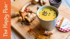 I'm going to alter this a bit by using green tea with coconut milk, than add the turmeric, and fresh ginger, some cinnamon, raw honey, a pinch of cayenne pepper, and I'll leave out the star anise. Turmeric Milk - The Happy Pear - Golden Milk
