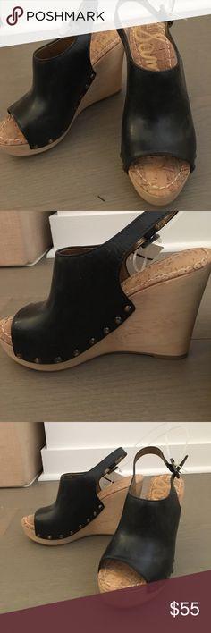 Sam Edelman black cork wedges Sam Edelman black cork wedges with black leather Sam Edelman Shoes Wedges