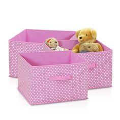 Furinno Laci Small Dot Non-Woven Fabric Soft Storage Organizer, 3-Pack, Pink (3-SD11144PK)
