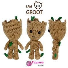Crochet pattern of Groot by TippayaCrochet on Etsy Disney Crochet Patterns, Crochet Rug Patterns, Crochet Doll Pattern, Doll Patterns, Crochet Batman, Crochet Cat Toys, Crochet Dolls, Crochet Fish, Crocheted Toys