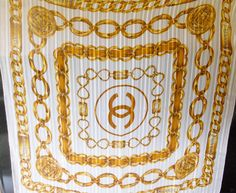 Vintage Chanel Silk Scarf White withGold Chain by LuluandGandore, $150.00