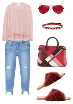"""""""Sin título #549"""" by maricelmartinez on Polyvore featuring moda, Brother Vellies, MANGO, Burberry, Ray-Ban y Valentino"""