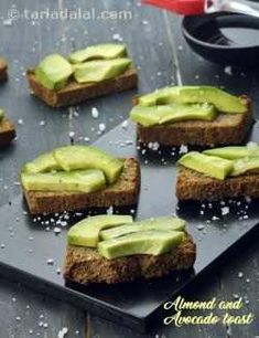 How to prepare good Almond and Avocado Toast, Toasted Almond Bread Topped with Avocados recipeCook Connect - Passion - Love - Food: How to prepare good Almond and Avocado Toast, Toasted Almond Bread Topped with Avocados recipe Healthy Indian Recipes, Avocado Recipes, Veg Recipes, Diabetic Recipes, Vegetarian Recipes, Snack Recipes, Cooking Recipes, Salad Recipes, Starter Recipes