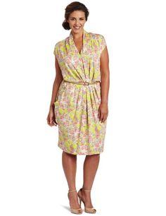 Anne Klein Women's Floral Print Dress, Lime Sorbet Multi, 1x