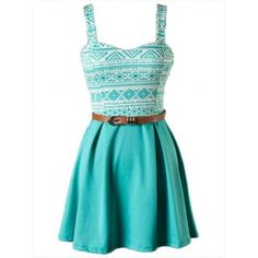 Dress: turquoise turquoise aztek print skater a-line belted ❤ liked on Polyvore featuring dresses, print dress, a line dress, mixed print dress, blue pattern dress and belted dress
