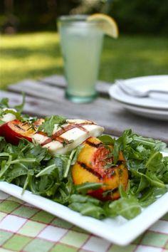 (peaches) Grilled Peach and Haloumi Salad | Simple Bites #recipe #peaches