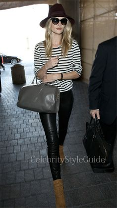 Rosie Huntington-Whiteley wore a navy and white stripe Lily Aldridge for Velvet Pearl Top while arriving at LAX April 15, 2013  #CelebrityStyleGuide #CelebrityStyle #CelebrityFashion