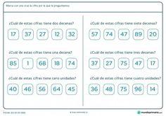 Ficha de marcar la cifra según las decenas y unidades para Primaria