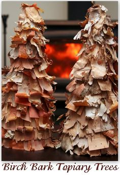 Birch Bark Christmas Topiary Trees featuring Sarah from Alderberry Hill