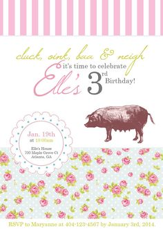 Items similar to Vintage Farm Floral Birthday Party Invitation on Etsy Vintage Farm Party, Farm Party Invitations, Farm Themed Party, 5th Birthday, Birthday Ideas, Horse Farms, Time To Celebrate, Vintage Girls, First Birthdays
