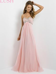 "Some girls pride themselves on the fact that they don't need a whole lots of fuss in order to show up to the events remarkable gorgeous in this formal gown. Flowy chiffon and beaded sweetheart bust is a classic trend for natural beauties. Features:   Available in sizes 0-24  Colors include Crystal Pink  Length (Hollow to Hem): 59""-60""  Fabric: Chiffon"