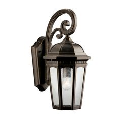 """Kichler 9033 Courtyard Single Light 18"""" Tall Outdoor Wall Sconce with Seedy Glas Rubbed Bronze Outdoor Lighting Wall Sconces Outdoor Wall Sconces"""