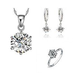 L'arrivée de nouveaux bijoux de mariage élégant Femmes Set Argent Plaqué Collier zircon Boucle d'oreille Bague Pour Bridal