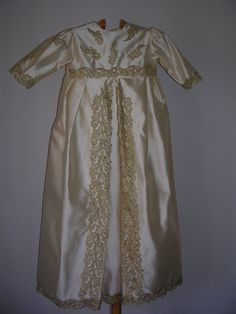 Imperial: Heirloom christening gown with bonnet made in dupioni silk with gorgeous golden lace by ExquisiteDesignRS in DaWanda.com