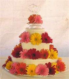Image detail for -Gerbera Daisy Wedding Cake - Wedding Cake Daisy Wedding Cakes, Daisy Bouquet Wedding, Gerbera Wedding, Fall Wedding Bouquets, Cool Wedding Cakes, Wedding Flowers, Daisy Cupcakes, Pink Gerbera, Our Wedding