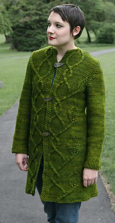 This pattern is available for $7.00 USD  buy it now The Intwined Coat, worked nearly-seamlessly from the bottom up, is a real showstopper. It features asymmetrical, twining cables and leaves worked on a background of reverse stockinette stitch. It also features seamless, no-sew set-in sleeves!