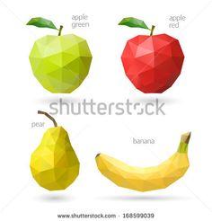 Polygonal fruit. Vector illustration - stock vector