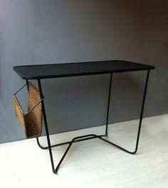 Mathieu Matégot; Enameled Metal and Wicker Writing Desk, c1950.