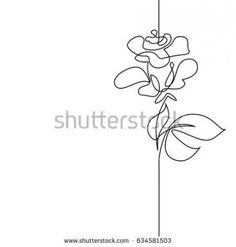 Continuous one line drawing. Black and white vector illustration. Concept for logo, card, banner, poster, flyer Face Line Drawing, Flower Line Drawings, Single Line Drawing, Line Flower, Tattoo P, Card Tattoo, Line Tattoos, Dog Tattoos, One Line Tattoo