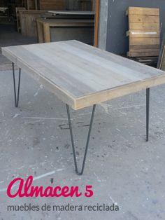 mesa de madera reciclada con patas de forja. hacemos muebles a medida y a buen precio. www.almacen5.es
