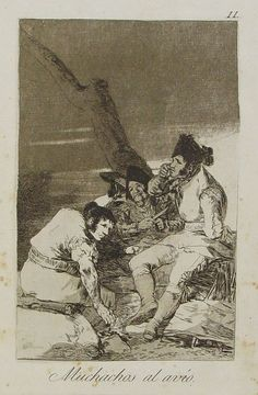 1788 Muchachos al avío. Goya. Aquatint etching first impression. Found in the kitchen of the former residence of Slobodan Milosevic in Beograd.
