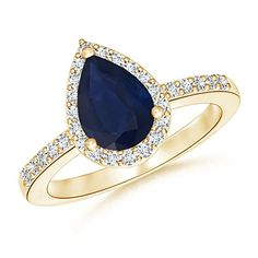 Pear Shaped Sapphire Engagement Ring with Diamond Halo