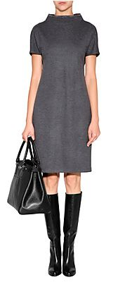 Wool Dress with Embellished Stand-Up Collar by BRUNELLO CUCINELLI | Luxury fashion online | STYLEBOP.com